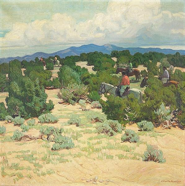 Ernest Martin Hennings (American, 1886-1956) Riders in the foothills 30 x 30in