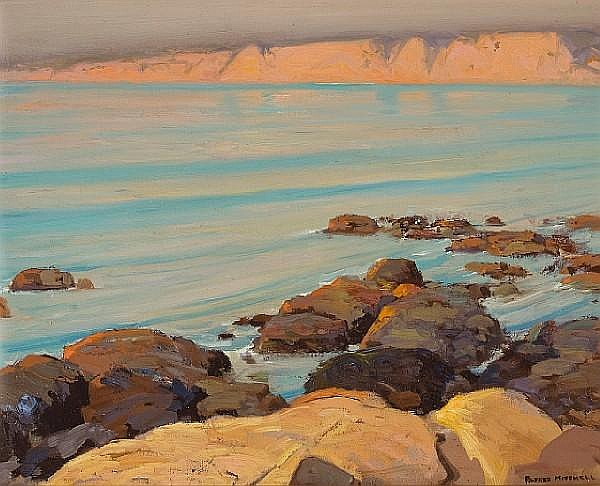 Alfred R. Mitchell (American, 1888-1972) Quiet sea (La Jolla cliffs) 16 x 20in
