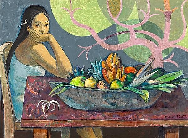 Millard Sheets (American, 1907-1989) 'Girl with calabash of fruit' 29 x 40in