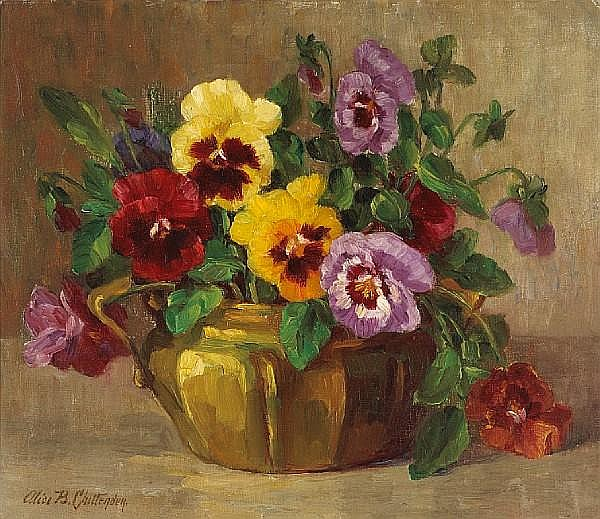 Alice Brown Chittenden (American, 1859-1944) Still life with pansies in an urn 12 x 14in