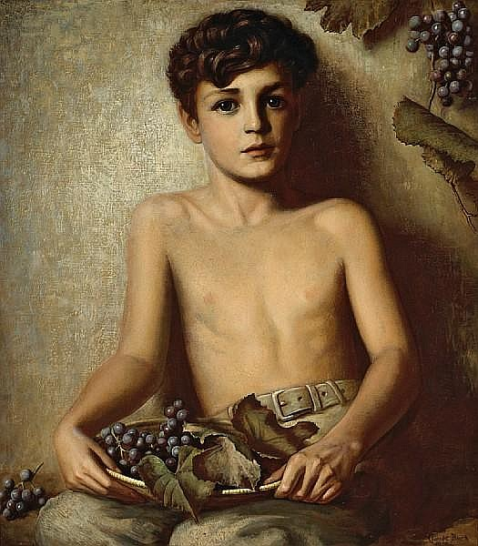 Claude Charles Buck (American, 1890-1974) A portrait of a young boy with grapes, 1939 27 x 24in