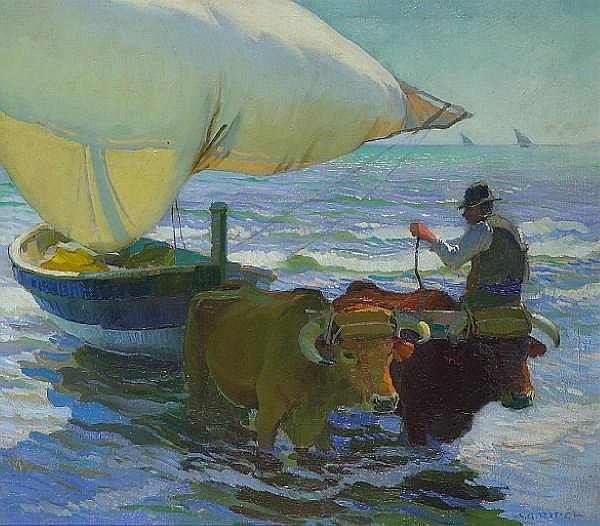 Arthur Grover Rider (American, 1886-1975) Bringing in the boats, Valencia, c. 1921 44 x 50in