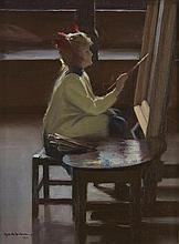 Robert Alexander Graham (American, 1873-1946) The Little Artist #6 16 1/4 x 12 1/4in