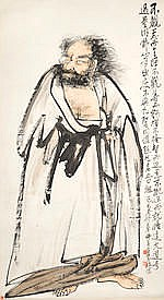 GAO JUN (1900-1960) Buddhist Figure, 1929 Hanging scroll, ink and color on paper, pos