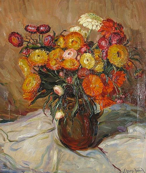 Willy Benz-Baenitz (German, born 1881) A still life with marigolds 25 x 21 3/4in