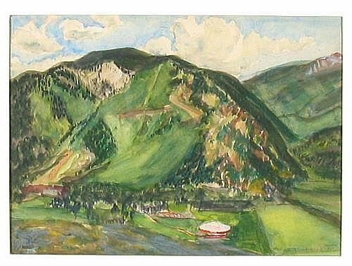 Helen Greene Blumenschein (American, 1909-1989) Aspen, 1949 9 x 11 7/8in