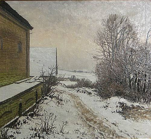 Attributed to Thorvald Larsen (Danish 1881-1947) A winter landscape 28 1/2 x 31in