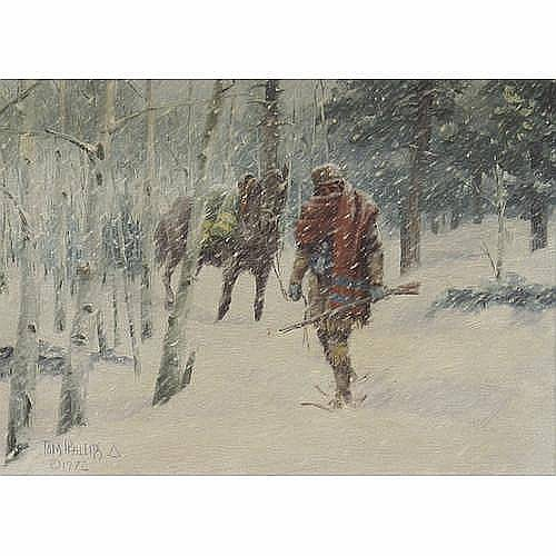 Tom Phillips (American b. 1927) A mountain man in a snowstorm, 1972 11 x 15 1/4in