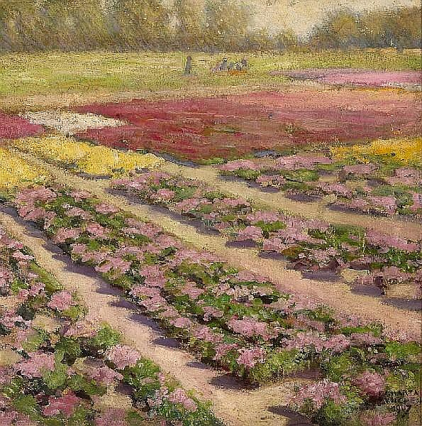 Felix Albrecht Harta (Hungarian, 1884-1967) Landscape with rows of pink flowers, 1907 20 7/8 x 20 1/2in (53 x 52cm)