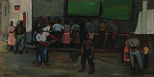 Georges (Karpeles) Kars (Czech, 1882-1945) Street scene, 1934 13 3/16 x 26 1/8in (33.5 x 66.3cm)