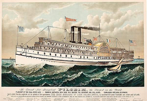 Charles R. Parsons (American, 1821-1910); published by Currier & Ives, N.Y. The Grand New Steamboat PILGRIM, the Largest in the World - Flagship of the Fall River Line.;