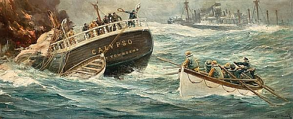 Anton Otto Fischer (American, 1882-1962) The rescue of the crew from the Calypso 20-1/2 x 48 in. (52.1 x 121.9 cm.)