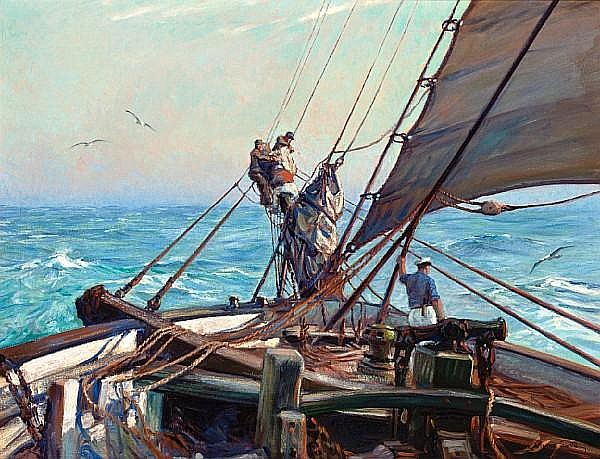 Frank Vining Smith (American, 1879-1967) A crew manning sail 28 x 36 in. (71.1 x 91.4 cm.)