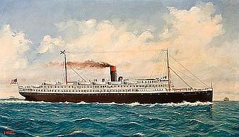 Ferdinand Worms (American, 1859-1939) The S.S. City of Chattanooga at sea 33 x 56-1/4 in. (83.8 x 142.9 cm.)