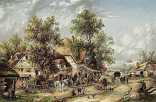 Georgina Lara (British, active 1840-1880) The village inn 20 x 30in