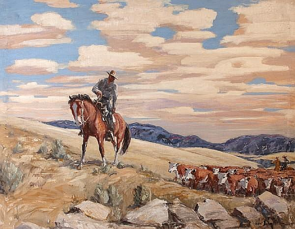 Carl Schmidt (American, 1885-1969) Cowboys Herding Cattle 38 x 48in