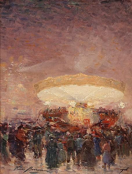 Henri (Lucien-Joseph) Buron (French, 1880-1969) La Place Pigalle 18 x 14in