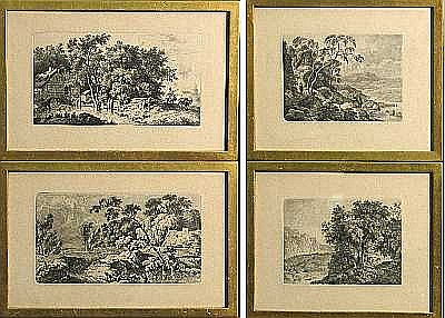 Fine Art From the Estate of Phyllis Butterfield Ferdinand Kobell (German, 1740-1799); Four Landscapes; (4)