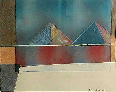 Masoud Yasami (Iranian, born 1949); Composition with Two Pyramids;
