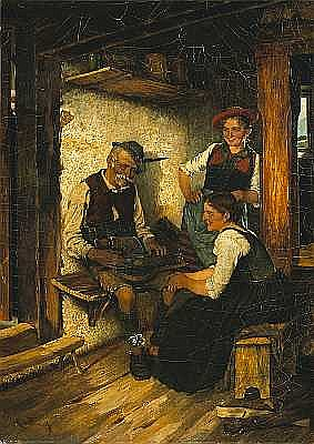 Maximilian Wachsmuth (German, 1859-1912) The zither player 23 x 16 1/2in unframed