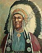 Charles Damrow (American, 1916-1989) Indian Chief 27 x 22in, Charles Damrow, Click for value