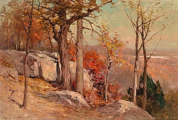 George Henry Smillie (American, 1840-1921) Autumn overlooking the valley 16 x 24in
