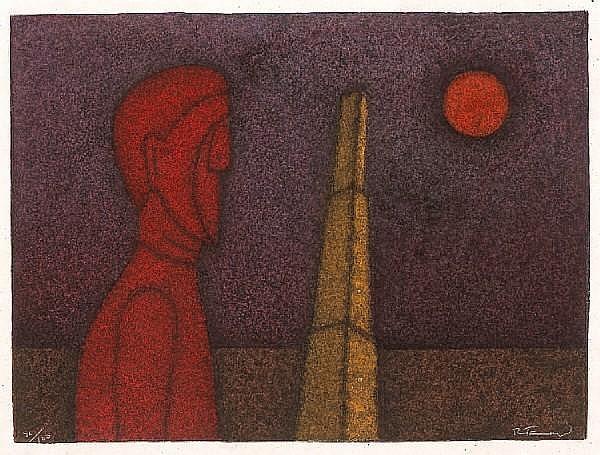 Rufino Tamayo (Mexican, 1899-1991); Figure in Rojo;