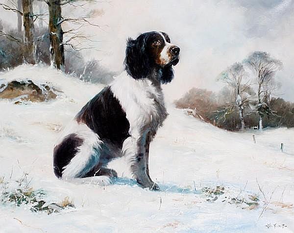 John Trickett (British, born 1952) Springer Spaniel seated in a snowy landscape 23 5/8 x 29 1/2 in. (60 x 75 cm.)
