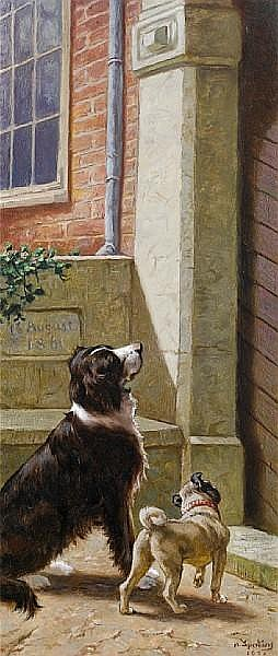 Heinrich Sperling (German, 1844-1924) Approaching footsteps 21 x 9 in. (53.5 x 23 cm.)
