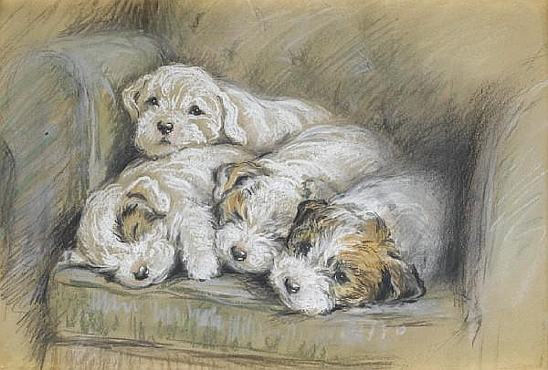 Lucy Dawson (British, -1954) Sealyham puppies 9 x 13 1/2 in. (23 x 34.2 cm.)