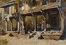 Edwin Lord Weeks  (American, 1849-1903)  Merchants along a street in Bombay 13 x 18 3/4in (33 x 47.5cm)