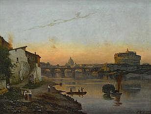 Bernhard Karl Mackeldey  (German, 1826-1890)  A view of St. Peter's Basilica and Castel Sant'Angelo, Rome 18 1/4 x 24in (46.5 x 61cm)