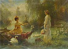 Hans Zatzka  (Austrian, 1859-1949)  Mail from across the pond 22 3/4 x 31 1/4in (58 x 79.5cm)