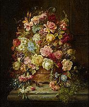 Hans Zatzka  (Austrian, 1859-1949)  A still life with flowers in a jardiniere resting on a ledge 30 x 25in (76 x 63.5cm)