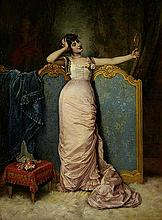 Auguste Toulmouche (French, 1829-1890) Admiring her looks 25 3/4 x 18 1/4in (65.4 x 46.4cm)
