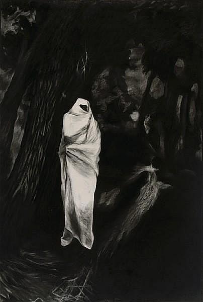 Michele Zalopany (American, born 1955) Fatima Waiting in the Black Forest, 1985 89 1/2 x 60in