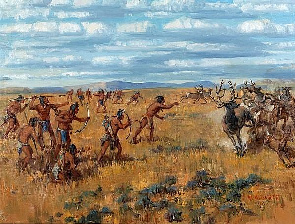 Marco Antonio Gomez (American, 1910-1972) Blackfeet on the Hunt, Montana, (c. 1820) 18 1/8 x 24 1/4in