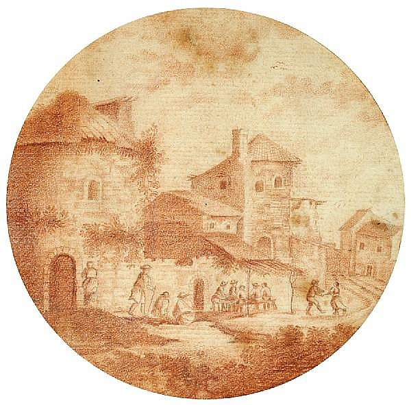 Follower of Adam Perelle (French, 1638-1695) A view of a village sight, diameter 4 3/4in