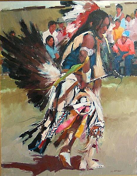 Dan McCaw (American, born 1942) Crow Indian dancer 30 x 24in