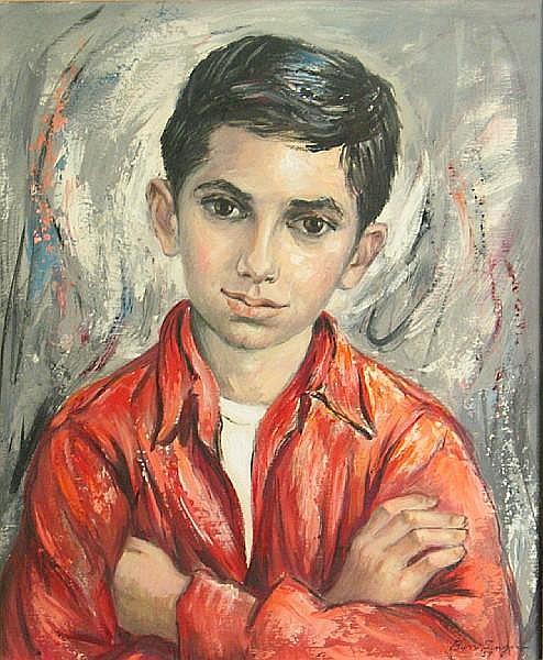 Bernice Lee (Burr) Singer (American, 1912-1992) Portrait of Larry Gottlieb, 1957 20 x 16in