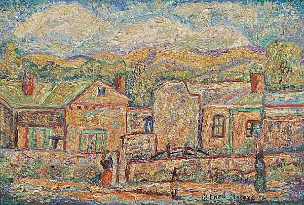 Alfred Gwynne Morang (American, 1901-1958) Town view, 1956 18 x 24in