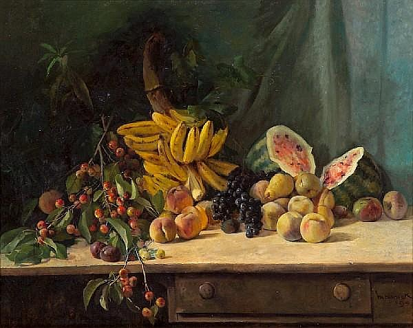 William Hubacek (American, 1871-1958) Still life with cherries, bananas, watermelon and other fruit on a table, 1895 36 x 46in
