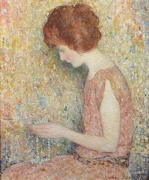 Murray Percival Bewley (American, 1884-1964) The green necklace 30 x 25in