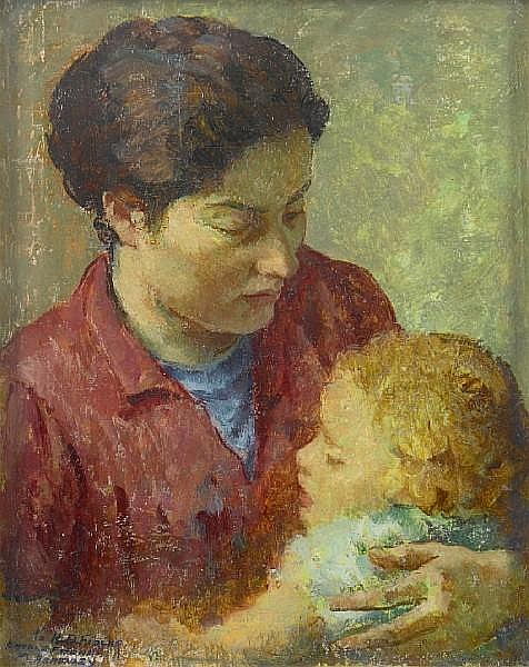 Mischa Askenazy (Russian/American, 1888-1961) Mother and child, believed to be the artist's wife and daughter 20 x 16in