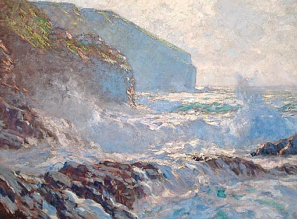 Paul Dougherty (American, 1877-1947) Sunlight and surf, 1911 36 x 54 1/4