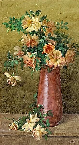 Albert Robert Valentien (American, 1862-1925) A vase of roses 36 x 20in