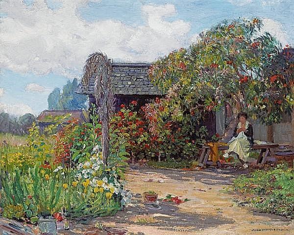Joseph Kleitsch (1885-1931) Woman in a garden sewing 24 x 30in