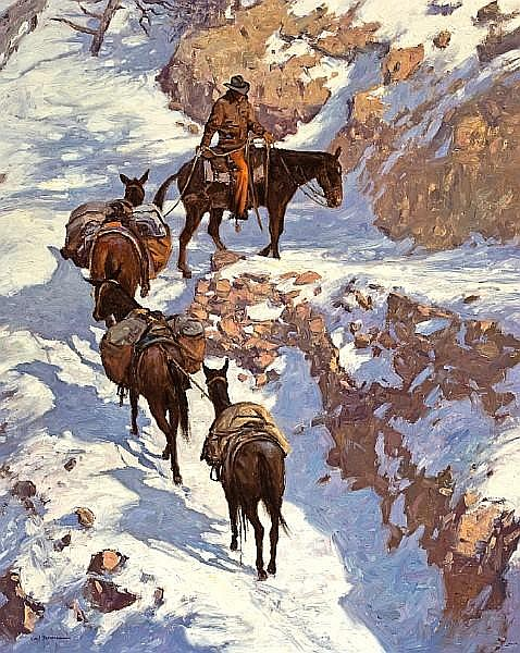 Karl Thomas (American, born 1948) Pack train, Grand Canyon 30 x 24 in