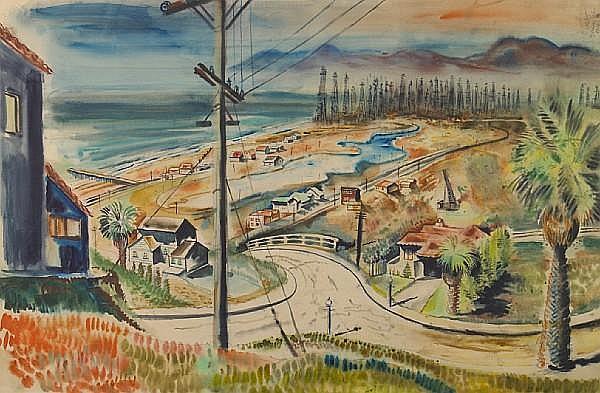 Georges Schreiber (American, 1904-1977) Venice Beach, 1936 20 x 30in