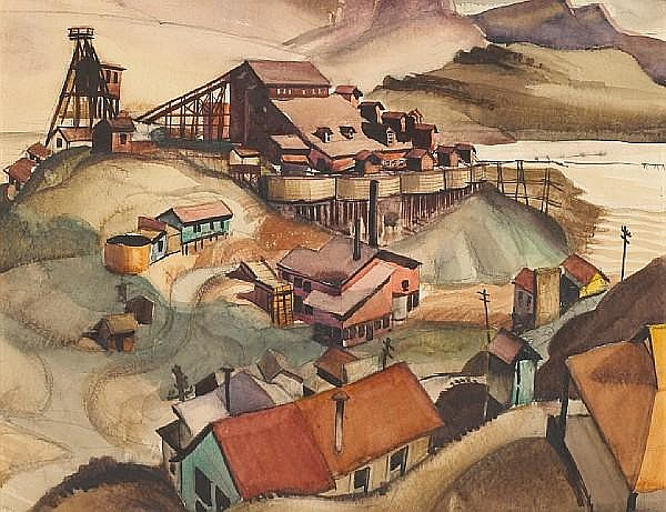 Philip Herschel Paradise (American, 1905-1997) Arizona mining scene 15 1/2 x 19 1/4in